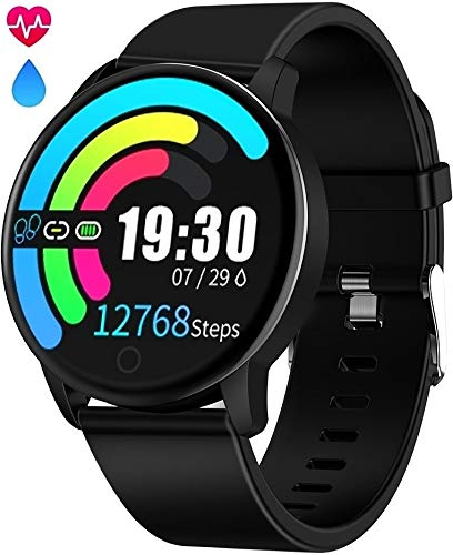Smart Watch Waterproof IP68 Fitness Tracker Smartwatch with Heart Rate Monitor for Android Phones Activity Tracker Calorie Burn, Sleep Monitor, Sport Watch for Women Men Kids Girls Iphone Compatible