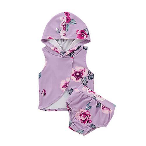 Moneycom Infantile pour bébé Kid Fille Manches Floral à Capuche Gilet Tops + Shorts Tenues Set (3-6 Mois)