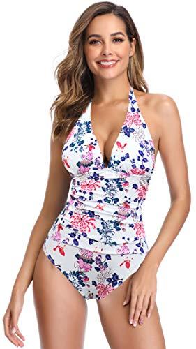 SHEKINI Damen Einteiliger Bikini Blumenmuster Badeanzug Tief V-Ausschinitt Bauchweg Raffung Monokini Große Größe (Medium, Blumen-Weiß)