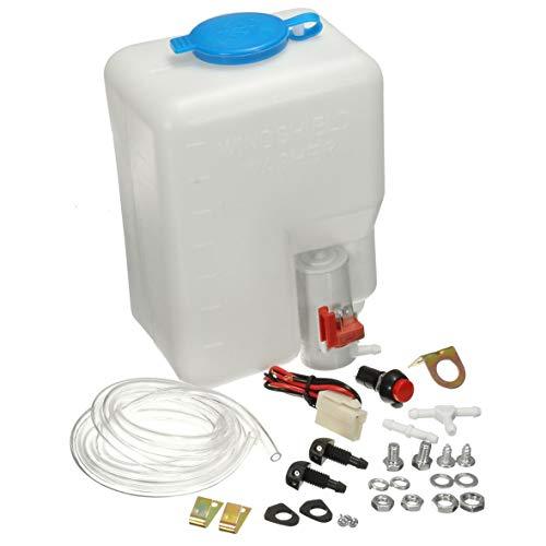 Heaviesk 12V Universal Classic Car Scheibenwaschanlage Vorratsbehälter Pumpe Flasche Kit Jet Schalter Clean Tool Einfach und bequem zu bedienen