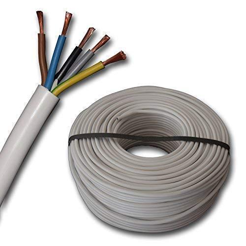 Herdanschlussleitung Herdanschlusskabel H05VV-F 5G2,5 mm² - 5x2,5 mm² - weiß - 5 m 10 m oder 15 Meter