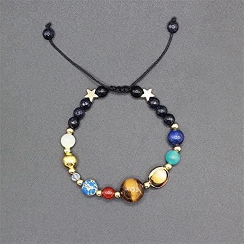 YZDKJ Universo Galaxy Los Ocho Planetas en el Sistema Solar Star Guardian Star Piedra Natural Stone Barras Brazalete para Mujeres y Hombres (Metal Color : Adjustable)