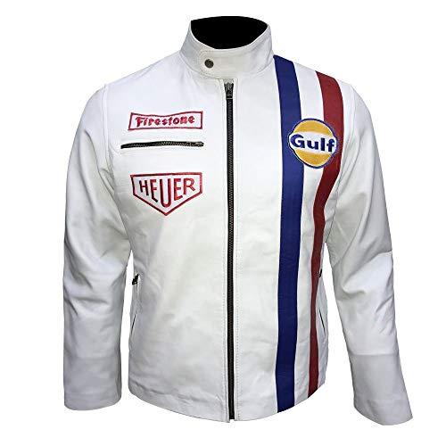Western Fashions Le Mans - Steve McQueen - Grand Prix - Gulf Sheepskin - Lederjacke in Weiß-m