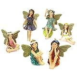 kristy Fairy Garten Miniatur Feen Figuren, 6 Stück Miniatur Feen Figuren Zubehör für Outdoor Dekoration, Feengarten Ornamente Feenhäuser für Kinder