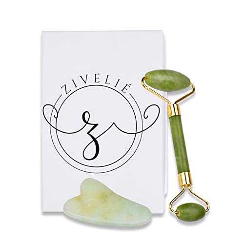 Zivelie Double Sided Jade Roller and Gua Sha Set - Ancient Chinese Remedy to Improve Circulation, Promote Healing, Increase your Facial and Muscle Health