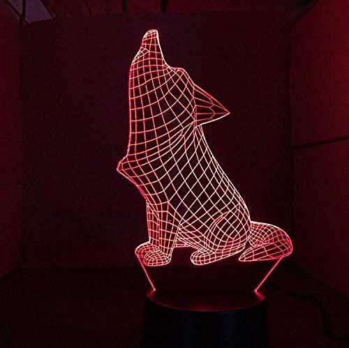 Lámpara De Noche Led De Perro Rugiente, Lámpara De Mesa Acrílica Cambiante De 7 Colores, Botón Táctil Usb, Luz De Decoración De Iluminación De Sala De Estar Del Hogar De Moda