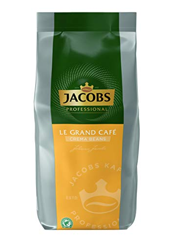 Jacobs Professional Le Grand Café Crema Beans, 1kg Kaffeebohnen, ganze Bohne, milder und ausgewogener Kaffee, aus nachhaltigem Anbau, ideal für Kaffee-Vollautomaten