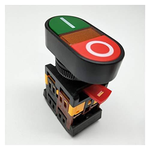 Security Accessory Botón 22 mm / 25 mm 220V CA ON/Off Start Stop 1 NO NC 2 Botones APBB-22N Interruptor de pulsador de Doble Cabeza Dobles con luz (Voltage : 220V)