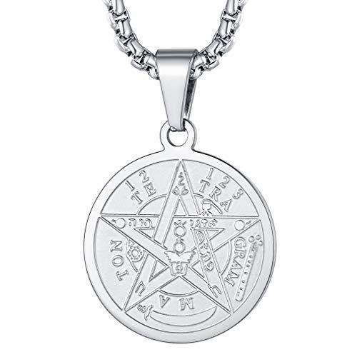 FaithHeart Salomón Sello Tetragrammatón Esotérico Acero Inoxidable 316L Cadena Plateada Collar Milagroso para Hombres y Mujeres Cristianos Medalla Redonda de Protección