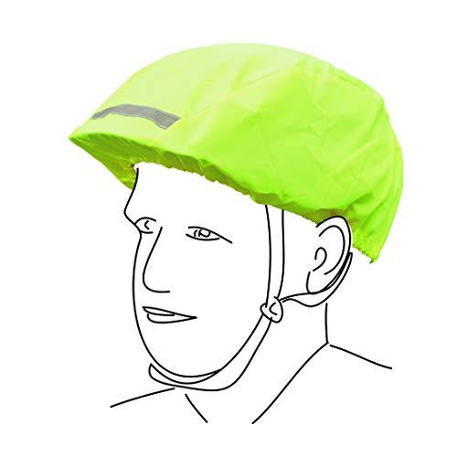 Regenschutzcover für Ihren Fahrradhelm, wasserdichter Helmüberzug mit Gummizug, Farbe neon, One size fits all, Immer gut sichtbar mit zwei Reflektoren