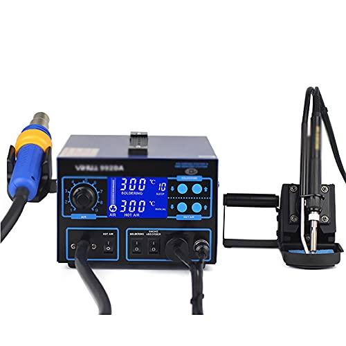 Estación De Soldadura Estación De Aire Acondicionado Caliente Estación De Soldadura De Aire Caliente Pantalla Digital Pistola De Aire Caliente Tres En Uno (Color : Azul, Size : 25.3x18.6x12.4cm)