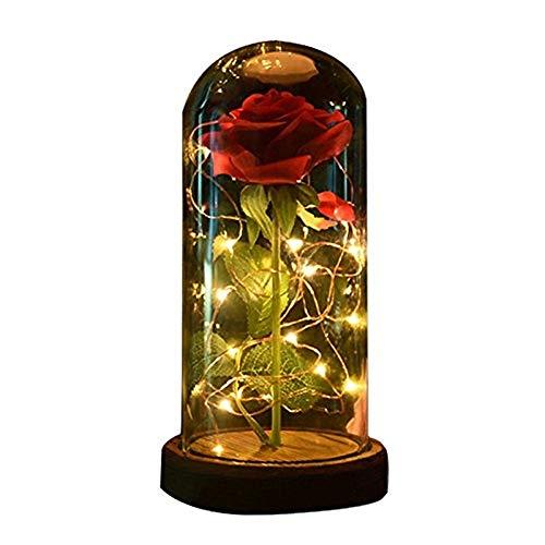 lxc Luz LED con pétalos caídos en la cúpula de Vidrio en un Regalo de Madera de la Base para Ella - Boda de Fiesta de cumpleaños de Vacaciones 11.0 * 11.0 * 12.0cm