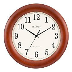 La Crosse Technology WT-3122A 12.5 Inch Wood Atomic Analog Clock, 12.5, Cherry Walnut