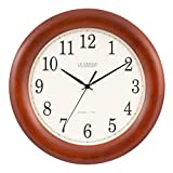 La Crosse Technology WT-3122A 12.5 Inch Wood Atomic Analog Clock, 12.5', Cherry Walnut