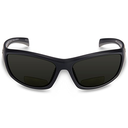 KastKing Hiwassee Bifocal Polarized Reader Sport Sunglasses,Power: 2.0 X,Matt Blackout Frame, Smoke