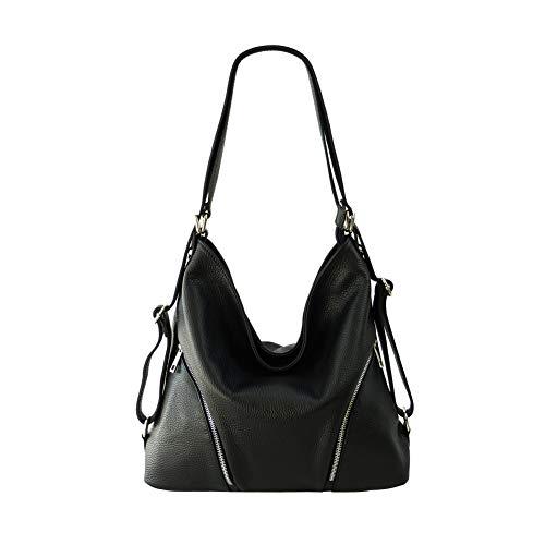 SH Leder 2in1 Handtasche Rucksack Damen Schultertasche Daypack CityRucksack aus Echt genarbt Leder (B 35cm x H 34cm xT 12cm) Sara G689 (Schwarz)