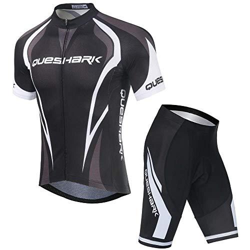 Queshark Maillots de Ciclismo Hombres Camiseta y Pantalones Cortos de Ciclismo Conjunto...