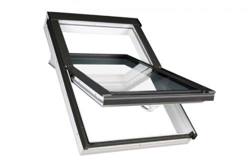 66 x 118 - FAKRO Dachfenster Kunststofffenster PTP - Schwingfenster PTP U3 mit EDR für Dachziegel