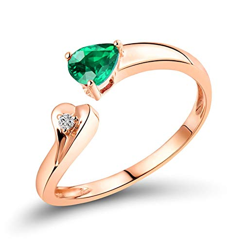 Aartoil Mujer oro rosa de 18 quilates pera Green White Emerald Diamond