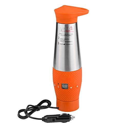 12V 80W Auto-Wasserkocher Kochwasser-Heizbecher, Vakuumisolierter tragbarer Reise-Heizbecher, Wasserkochbecher Wasserkocher für Wasser, Tee, Kaffee und Milch(Orange)