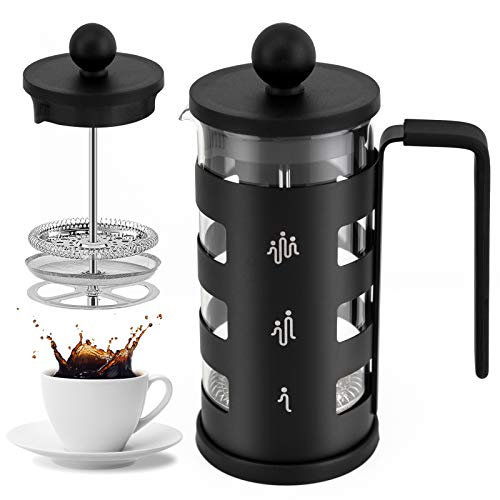 French Press Coffee Tea Maker for 350ml/12oz with 4 Level Filtration System Borosilicate Glass Durable Stainless Steel Thickened Heat Resistant