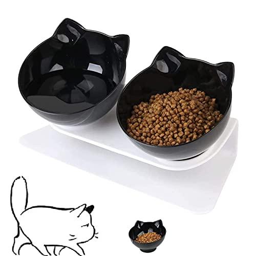 WELLXUNK Tazón para Mascotas, Cuencos para Gatos, Cuencos para Perros, Comedero para Mascotas con Soporte Elevado 15° Inclinación Antideslizante, para Gatos y Perros Pequeños (Negro)