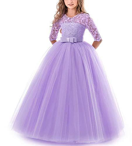 NNJXD Chicas Pompa Bordado Vestido de Bola Princesa Boda Vestir Talla(170) 13-14 años 378 Púrpura-A