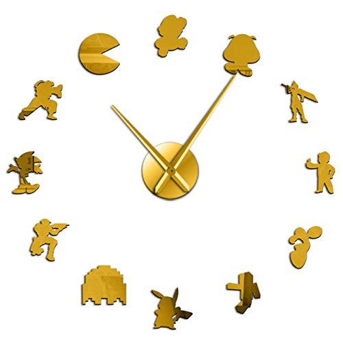 yage Personajes de Videojuegos Retro DIY Pegatinas de Arte de Pared Reloj de Pared Grande Geeky Nerdy Gamer Decoración de habitación Reloj de Pared Reloj Regalo de Jugador