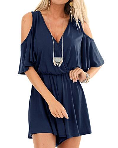 YOINS Sommerkleid Damen Kurz Tshirt Kleid Tunika Langes Shirt Kurzarm Kleider MiniKleid Brautkleid V-Dunkelblau L