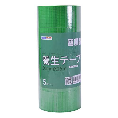【Amazon 限定ブランド】ADHES 養生テープ 緑 ガムテープ はがせる 台風 窓ガラス用 50mm�I25m 5巻入り (YB16-弱粘着)