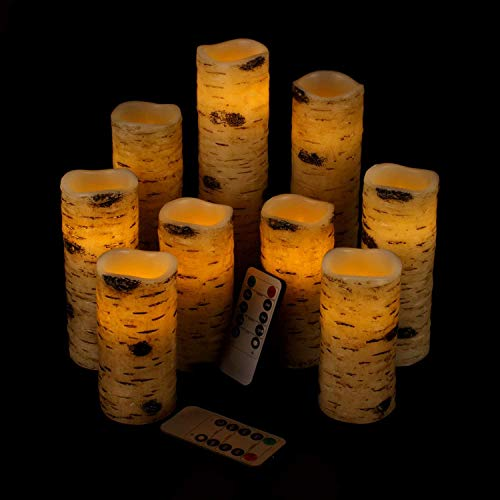Antizer Flameless Candles Battery Operated Candles Birch Bark Effect 4' 5' 6' 7' 8' 9' Set of 9 Ivory Real Wax Pillar LED Candles with Real Wax Pillar with 10-Key Remote Control 2/4/6/8 Hours Timer