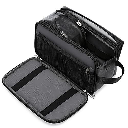 Kulturtasche Herren, LOVEVOOK Wasserdicht Kulturbeutel Kosmetiktasche zum Aufhängen mit Nass-Trockenfach, Leder Waschtasche Toilettentasche für Reise Schwarz Groß