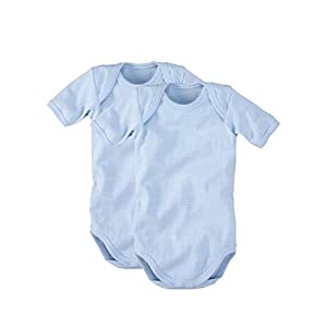 WELLYOU Conjunto de 2 Bodys Mangas largas para bebés, Conjunto de 2 Azul Claro con Rayas. Tallas 50-134 (128-134)