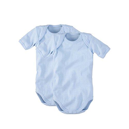 WELLYOU Conjunto de 2 Bodys Mangas largas para bebés, Conjunto de 2 Azul Claro con Rayas. Tallas 50-134 (68-74)