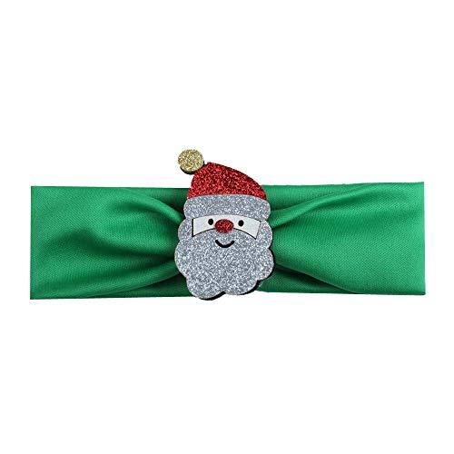 HUANGRONG 2pc Bandeau bébé d'arbre de Noël Père Noël Couvre-Chef Cheveux Bande Pièce de tête Accessoires Mode Hot Enfants Enfants Bébés Filles (Color : Green)