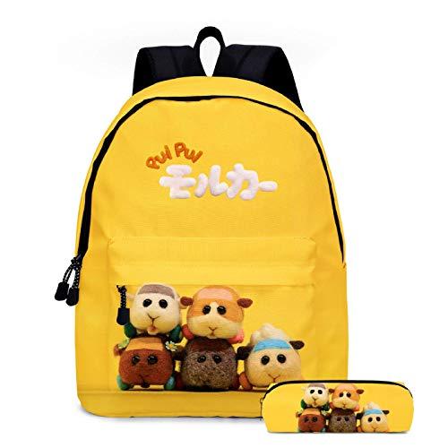 ZBK Anime Pui Pui Guinea Pig Car Theme School Bag Set,M Mochila para portátil con estuche para lápices para niños y niñas, 5 colores