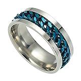 Engao, anello da uomo, in acciaio al titanio, anelli di tornitura, cavatappi apribile e /, colore: Blu, cod. @04YM5_H_13203