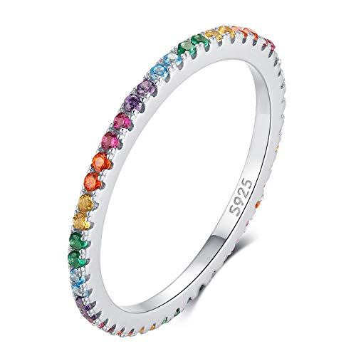 Qings 925 Sterling Silver Droplets Ring with Colorful Crystals, Narrow Rainbow Ring, Jewellery Gifts for Girls Women Ladies