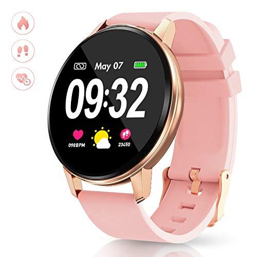 GOKOO Montre Connectée Femmes Étanche Montre Intelligente Bluetooth Smartwatch Moniteur de Fréquence Cardiaque Moniteur de Sommeil Bracelet Connecté Podomètre Sport Tracker d'Activité pour Android iOS