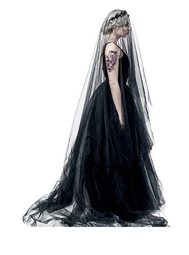 Black Lace Veil Wedding Cathedral Wedding Bride Halloween Gothic Costume Veil (Black long)