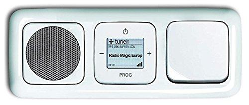 Busch Jäger Unterputz WLAN iNet Internet Radio 8216 U (8216U) alpinweiß Komplett-Set Reflex SI Lautsprecher + Radioeinheit + Abdeckungen + Wippschalter 2000/6 US in 3 fach Rahmen integriert