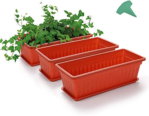 ADLOASHLOU 3 Packs Long Trough Plant Pot, 17Inches Rectangular Vegetable Flower Planter,Resin Box Planting Pot,Plastic troughs planters with 15 Pcs Plant Labels, for Windowsill,Patio,Garden-red