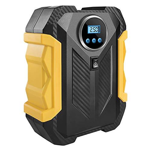Queta Pompe à Air Electrique pour Voiture 12V Gonfleur Pneus Voiture Portable Allume Cigare Compresseur d'Air Numérique LED Ecran pour Véhicule/Moto/Bicyclette