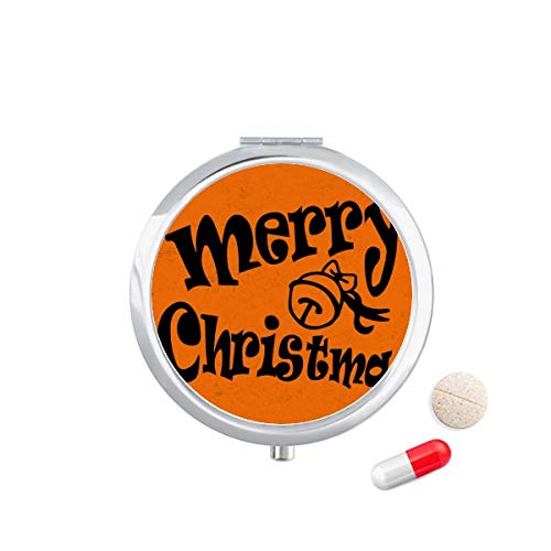 DIYthinker zwart mooie lettertype vrolijke kerst reizen Pocket Pill Case Medicine Drug Opbergdoos Dispenser Spiegel Gift