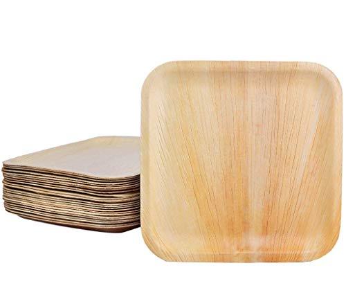 Palm Dishes Palmblattteller 25/100/200 Stück Einwegteller eckig 15x15 cm, aus Palmblatt 100% kompostierbar, umweltfreundlich stilvoll Palmblattgeschirr Set für BBQ, Party, Grillen Outdoor