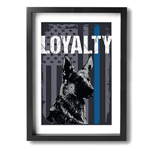 Arnold Glenn Police K9 Loyalty Blue -Photo Paintings 12'x16' Canvas Wall Art Prints Contemporary Home Decoration Giclee Artwork-Wood Frame Ready to Hang