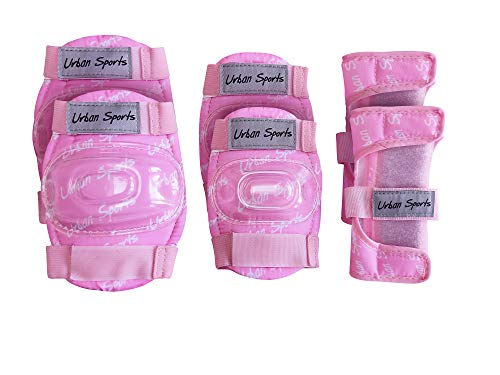 Pink Girls Childrens Combo Kids Helmet & Knee/Elbow Pad set ages 4-10 Cycling/Skating/Scooter/Bike