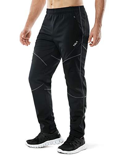 TSLA Pantalones térmicos cortavientos para hombre, con forro polar exterior, pantalones de ciclismo para invierno y tiempo frío Ykb01 - Pack de 1, color negro y gris L