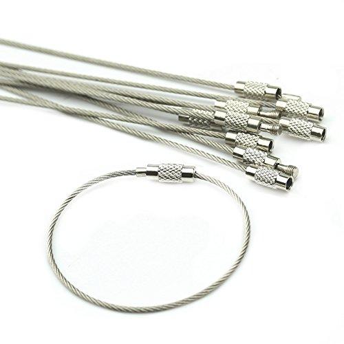 HeroNeo 10 piezas acero inoxidable llavero Cable para de senderismo con varios bolsillos
