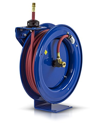 """Coxreels P-LP-350 Low Pressure Retractable Air/Water Hose Reel: 3/8"""" I.D., 50' Hose Capacity, with hose, 300 PSI, Made in USA, Blue"""